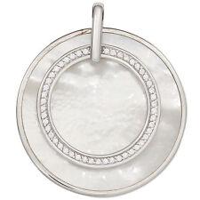 Anhänger rund 925 Sterling Silber rhodiniert mit Zirkonia 1 Perlmutt-Einlage