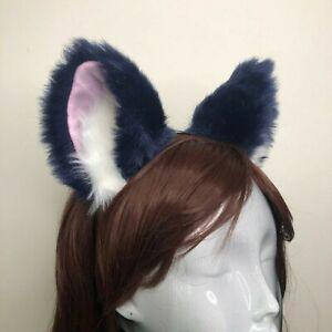 Cat ears Kitty Fox Front ears Cosplay Headwear Green Furry Pink inside Costume