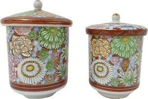 Antique Kutani China Yunomi Tea Cups Japanese w Lid Pair Flower Floral