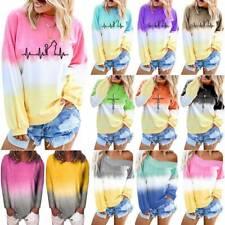 Plus Size Women Long Sleeve Gradient T-Shirt Sweatshirt Pullover Blouse Lady Top