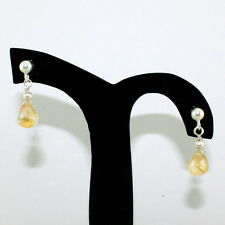 EARRINGS NATURAL CITRINE TOPAZ GEMSTONE FACETED BEADED 925 SOLID STERLING SILVER