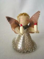 Vintage 1940s Chenille Spun Cotton Silver Angel, Mesh Dress, Christmas Ornament