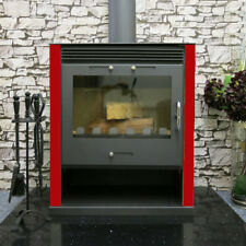 Wood Burning Multi-Fuel Ruben Red 16kw Burner Contemporary Modern Stove