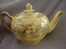 Price Bros Harrow Tea Pot #36 England Yellow & Gold Floral Vintage