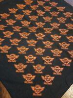 Vintage Harley Davidson Miller Genuine Draft Scarf Do Rag Bandana Black/Orange