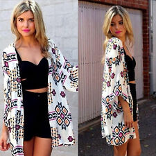 BOHO Women Floral Long Jacket Kimono Summer Cardigan Cape Beach Tops Bouse Shirt