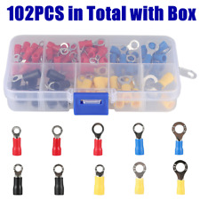 102 Pieces Assorted Insulated Ring Cable Connector Crimp Terminals