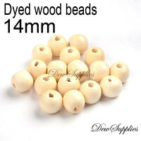 50x 14mm  Round Wood Bead Natural Unpainted Unfinished Wooden Beads Ball Spacer