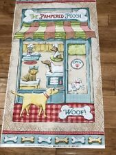 "Dogs Pampered Pooch cute quilters Cotton Fabric Panel sewing craft 24"" x 44"""