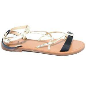 Sandalo basso Positano donna fascetta con intreccio bicolore nero e oro fondo an