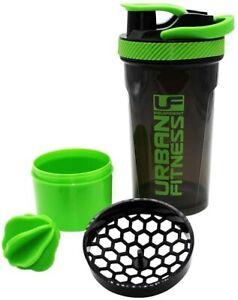 Urban Fitness 2in1 Protein Shaker Bottle 700ml Black/Green Gym Training