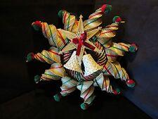 "Vintage Scandinavian Christmas 21"" Straw Handmade Wreath Decor 21"" Star bells"