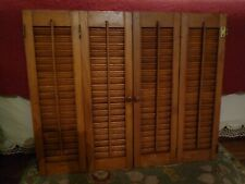 "4 Wood Interior Shutter Panels Pairs Hinged Together 24.375"" H x 7.375"" W Each"
