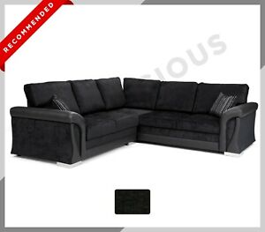 NEW Corner SOFA BED Formal Full Back Cushions Fabric Black with Storage