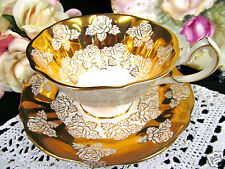 QUEEN ANNE TEA CUP AND SAUCER WIDE MOUTH GOLD ROSE PATTERN TEACUP