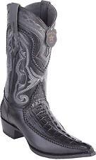 Los Altos Genuine BLACK Caiman CROCODILE Tail 3x Toe Western Cowboy Boot EE