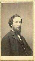 1860s Sophisicated Man w Beard CDV Albumen Photo Civil War Tax Stamp 4 4H