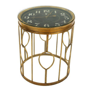 Glass Clock Circular Top Coffee Table Luxury End Table Living Room Furniture