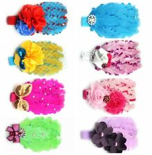Cute Girl Baby Toddler Infant Feather Flower Bow Headband Headwear Accessories