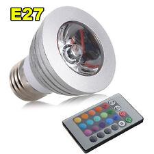 1X E27 3W 16 colori RGB LED lampadina + Telecomando IR  HK