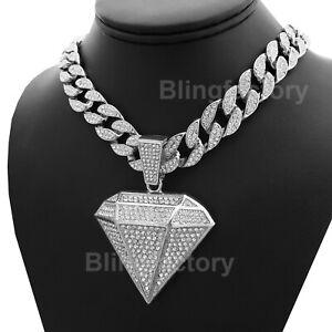 "Hip Hop Large Diamond Shape Pendant & 18"" Full Iced Cuban Chain Choker Necklace"