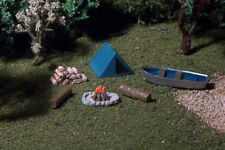 PUP TENT 6pc camp site Row Boat firewood more N Scale
