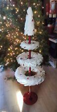"Starbucks Display WHITE PAPER LEAF WREATH CHRISTMAS TREE Red Berries 48"""