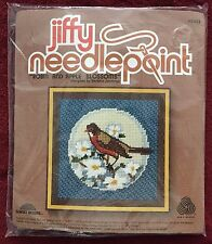 Robin and Apple Blossoms ~ Jiffy Needlepoint Kit by Barbara Jennings #5443 NIP