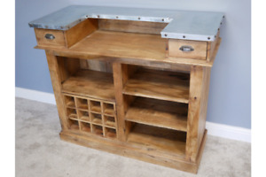 Home Bar Unit With Drawers and Removable Wine Bottle Storage Unit