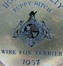 1957 Wire Fox Terrier 'Puppy Bitch' Dog Show Award Brass Tray Trophy