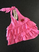 BNWT Girls Sz 7 Jelly Beans Brand Hot Pink Flower Emblem Halter Ruffled Top