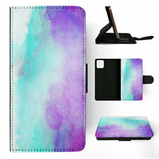 APPLE iPHONE FLIP LEATHER CASE WALLET COVER|PURPLE TEAL WATERCOLOR 68