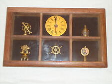 Nautical Style Marine Clock With 5 Brass maritime Items /ships wheel/Lamp