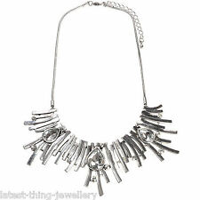 Silver Statement Necklace Glass Drop Crystal Abstract Bib Design