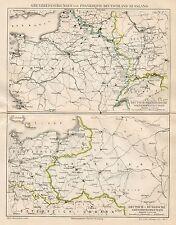 B6168 Confini tra Germania, Francia e Russia - Carta geografica 1891 - Old map