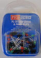 Peco Lectrics PL-30 LEDs (3mm) & Panel Clips - Model Railways