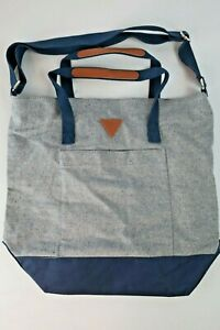 Vintage GUESS Jeans Denim Tote Bag Purse USA Triangle Leather Accents Messenger