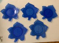 Vintage Depression Glass LE Smith Set Of 5 Cobalt Blue Leaf Dishes