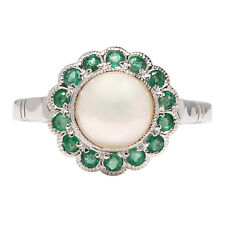 CR1132- Genuine 9ct White Gold NATURAL PEARL & EMERALD Ring made in your size
