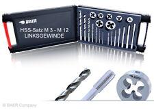 M 3 - M 12 LINKSGEWINDE Gewindebohrer + Schneideisen + Kernlochbohrer Satz