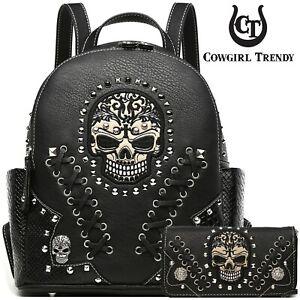 Punk Gothic Skull Studded Fashion Biker Purse Women Python Backpack Wallet Black