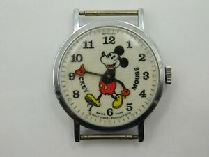 Vintage Bradley Mickey Mouse Red Hands Swiss Movement Hand Wind Wrist Watch