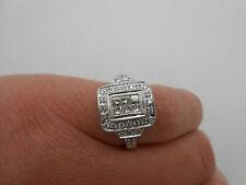 Designer Princess Cut & Round Diamond Cocktail Ring 18k White Gold 1.00 Carats