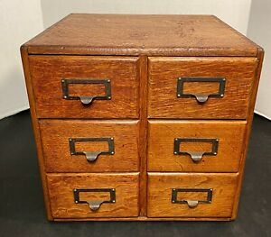 Antique Macey Wernicke 6 Drawer Oak Wooden Library Card Catalog Cabinet