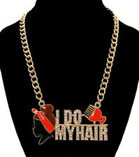 """""""I DO MY HAIR"""" AFRO PUFF/PICK Statement Necklace Bling Rhinestone Link Chain~Red"""