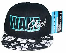 WAKE CHICK JUST RIDE WAKEBOARD HAT CAP FLAT BILL SNAPBACK BOAT BALLAST ROPE
