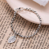 NEW Retro Womens Genuine s925 Sterling Silver Leaf Rolo Chain Bracelet Bangle