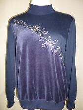 ALFRED DUNNER SMALL EASY STREET PARTIAL VELOUR FRONT PULLOVER CASUAL TOP~new