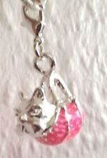 925  SILVER  DOG  IN  PINK  BAG  CLIP ON CHARM - NEW
