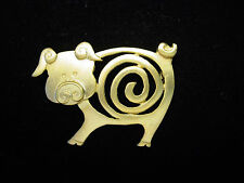 """JJ"" Jonette Jewelry Gold Pewter 'Swirl' Curly Tailed Pig Pin"